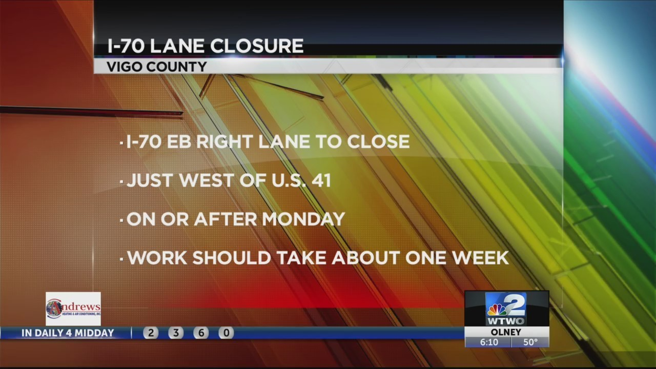 I-70 eastbound near US 41 to close for road work